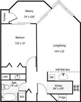 Floor plan 1br B