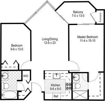 floor plan 2 bedroom 2a