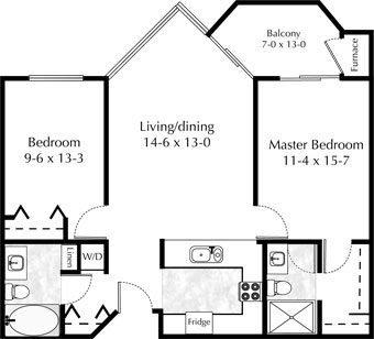 2 bedroom, 2 bath - Plan B