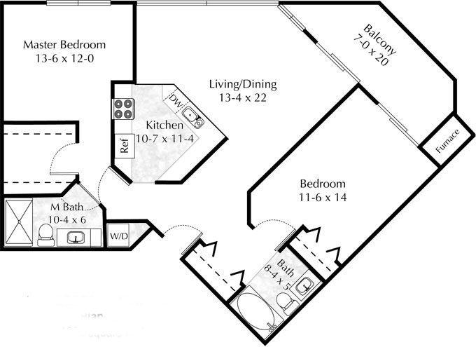 floor plan 2 bedroom 2 bath c